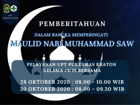 Pelayanan UPT Puskesmas Kraton Selama Cuti Bersama Hari Maulud Nabi Muhammad SAW