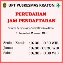 Perubahan Jam Pendaftaran UPT Puskesmas Kraton Selama PSBB